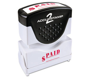 Consolidated Stamp Manufacturing Company 035578 Accustamp2 Shutter Stamp with Microban, Red, PAID, 1 5/8 x 1/2 by CONSOLIDATED STAMP