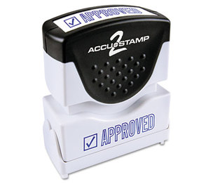 Consolidated Stamp Manufacturing Company 035575 Accustamp2 Shutter Stamp with Microban, Blue, APPROVED, 1 5/8 x 1/2 by CONSOLIDATED STAMP