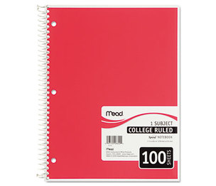 MeadWestvaco 06622 Spiral Bound Notebook, College Rule, 8 1/2 x 11, White, 100 Sheets by MEAD PRODUCTS