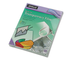 APOLLO AUDIO VISUAL VWO100C-BE Write-On Transparency Film, Letter, Clear, 100/Box by APOLLO AUDIO VISUAL