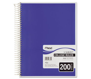 MeadWestvaco 06780 Spiral Bound Notebook, College Rule, 8 1/2 x 11, White, 200 Sheets by MEAD PRODUCTS