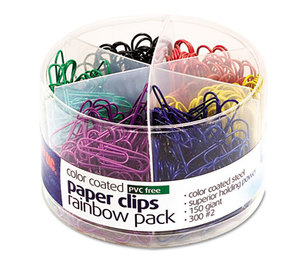OFFICEMATE INTERNATIONAL CORP. OIC-97227 Plastic Coated Paper Clips, Assorted Colors, 300 Small Clips, 150 Giant Clips by OFFICEMATE INTERNATIONAL CORP.
