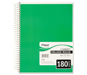 MeadWestvaco 05682 Spiral Bound Notebook, College Rule, 8 x 10 1/2, White, Twin Wire, 180 Sheets by MEAD PRODUCTS