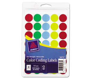 Avery 05473 See Through Removable Color Dots, 3/4 dia, Assorted Colors, 1015/Pack by AVERY-DENNISON