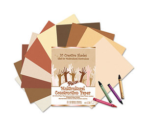PACON CORPORATION 9512 Multicultural Construction Paper, 76 lbs., 12 x 18, Assorted, 50 Sheets/Pack by PACON CORPORATION
