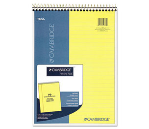 MeadWestvaco 59880 Stiff-Back Wire Bound Notebook, Legal Rule, 8 1/2 x 11, Canary Paper, 70 Sheets by MEAD PRODUCTS