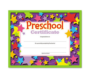TREND ENTERPRISES, INC. T17006 Colorful Classic Certificates, Preschool Certificate, 8 1/2 x 11, 30 per Pack by TREND ENTERPRISES, INC.