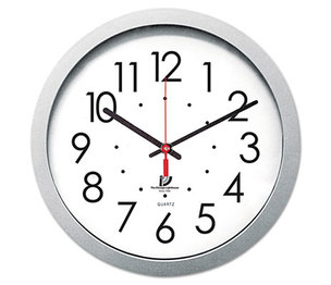 """Chicago Lighthouse Industries 67816003 Quartz Flat Rim Clock, 14-1/2"""", Silver by CHICAGO LIGHTHOUSE FOR THE BLIND"""