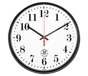"Atomic Slimline Contemporary Clock, 12-3/4"", Black by CHICAGO LIGHTHOUSE FOR THE BLIND"