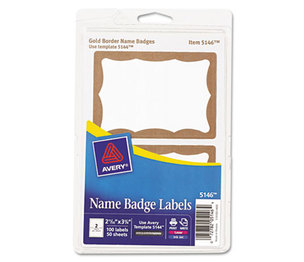 Avery 5146 Printable Self-Adhesive Name Badges, 2-11/32 x 3-3/8, Gold Border, 100/Pack by AVERY-DENNISON