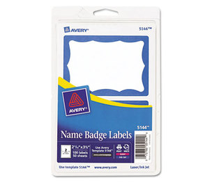 Avery 5144 Printable Self-Adhesive Name Badges, 2-11/32 x 3-3/8, Blue Border, 100/Pack by AVERY-DENNISON