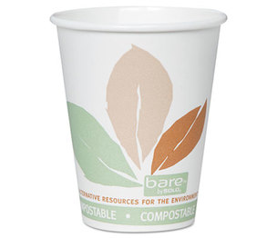 SOLO OF8PLA-J7234 Bare PLA Hot Cups, White w/Leaf Design, 8oz, 500/Carton by SOLO CUPS