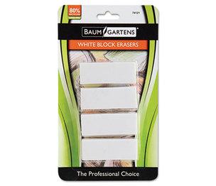 BAUMGARTENS 74121 Block Eraser, Latex Free, White, 4/Pack by BAUMGARTENS