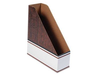 Fellowes, Inc 07224 Corrugated Cardboard Magazine File, 4 x 11 x 12 3/4, Wood Grain, 12/Carton by FELLOWES MFG. CO.