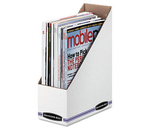 Fellowes, Inc 10723 Corrugated Cardboard Magazine File, 4 x 9 1/4 x 11 3/4, White, 12/Carton by FELLOWES MFG. CO.