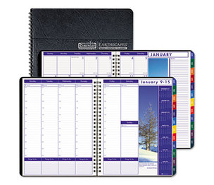 HOUSE OF DOOLITTLE HOD273-92 Earthscapes Executive Hardcover Weekly/Monthly Planner, 8-1/2 x 11, Black, 2016 by HOUSE OF DOOLITTLE