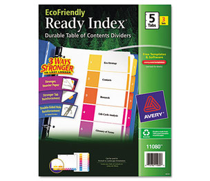 Avery 11080 Ready Index Customizable Table of Contents, Asst Dividers, 5-Tab, Ltr, 3 Sets by AVERY-DENNISON