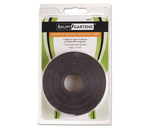 "BAUMGARTENS 66010 Adhesive-Backed Magnetic Tape, Black, 1/2"" x 10ft, Roll by BAUMGARTENS"