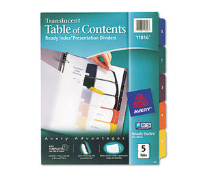 Avery 11816 Ready Index Customizable Table of Contents Plastic Dividers, 5-Tab, Letter by AVERY-DENNISON