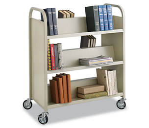 Safco Products 5357SA Steel Book Cart, Six-Shelf, 36w x 18-1/2d x 43-1/2h, Sand by SAFCO PRODUCTS