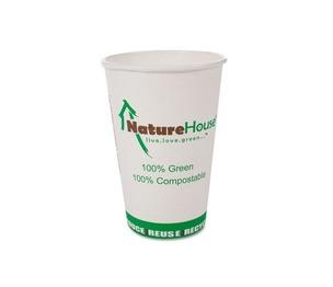 Savannah Corp NAH-C012 Compostable Live-Green Art Hot Cups, 12oz, White, 50/Pack by SAVANNAH SUPPLIES INC.