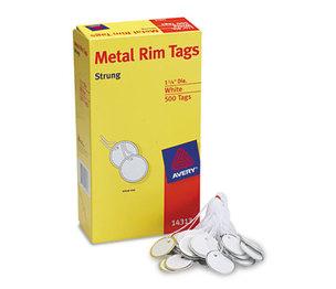 Avery 14313 Metal Rim Tags, Metal/Paper, 1 1/4 dia, White, 500/Box by AVERY-DENNISON