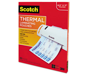 3M TP3854-100 Letter Size Thermal Laminating Pouches, 3 mil, 11 1/2 x 9, 100 per Pack by 3M/COMMERCIAL TAPE DIV.