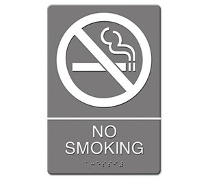 U.S. Stamp & Sign 4813 ADA Sign, No Smoking Symbol w/Tactile Graphic, Molded Plastic, 6 x 9, Gray by U. S. STAMP & SIGN