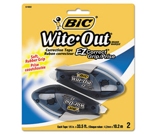 "BIC WOECGP21 Wite-Out EZ Correct Grip Correction Tape, NonRefill, 1/6"", 402"", 2/Pk by BIC CORP."