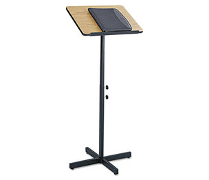 Safco Products 8921MO Adjustable Speaker Stand, 21w x 21d x 29-1/2h to 46h, Medium Oak/Black by SAFCO PRODUCTS