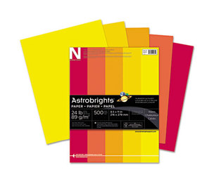 Neenah Paper, Inc 20262 Astrobrights Colored Paper, 24lb, 8-1/2 x 11, Warm Assortment, 500 Sheets/Ream by NEENAH PAPER