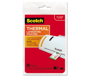 3M TP5851-20 Business Card Size Thermal Laminating Pouches, 5 mil, 3 3/4 x 2 3/8, 20/Pack by 3M/COMMERCIAL TAPE DIV.