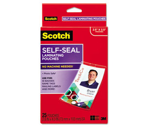 3M LS852G Self-Sealing Laminating Pouches w/Clip, 12.5 mil, 2 15/16 x 4 1/16, 25/Pack by 3M/COMMERCIAL TAPE DIV.