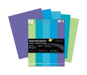 Neenah Paper, Inc 20264 Astrobrights Colored Paper, 24lb, 8-1/2 x 11, Cool Assortment, 500 Sheets/Ream by NEENAH PAPER