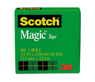 """3M 810121296 Magic Tape, 1/2"""" x 1296"""", 1"""" Core, Clear by 3M/COMMERCIAL TAPE DIV."""