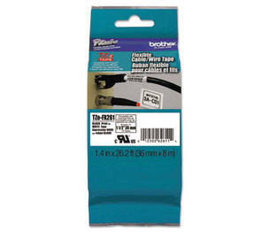 Brother Industries, Ltd TZEFX261 Flexible Tape Cartridge for P-Touch Labelers, 1-1/2in x 26.2ft, Black on White by BROTHER INTL. CORP.