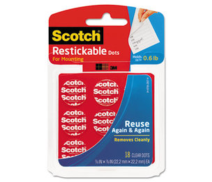 3M R105 Restickable Mounting Tabs, 7/8 x 7/8, Clear, 18/Pack by 3M/COMMERCIAL TAPE DIV.