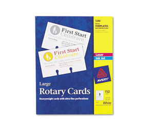 Avery 5386 Large Rotary Cards, Laser/Inkjet, 3 x 5, 3 Cards/Sheet, 150 Cards/Box by AVERY-DENNISON