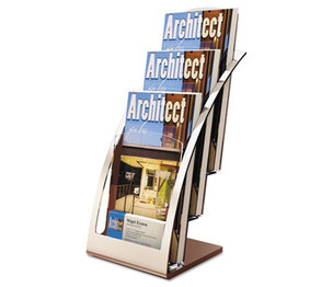 Deflecto Corporation 693645 Three-Tier Leaflet Holder, 6-3/4w x 6-15/16d x 13-5/16h, Silver by DEFLECTO CORPORATION