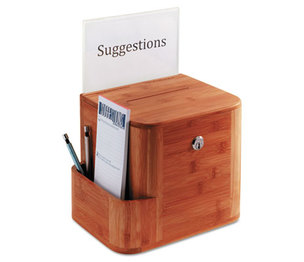 Safco Products 4237CY Bamboo Suggestion Box, 10 x 8 x 14, Cherry by SAFCO PRODUCTS