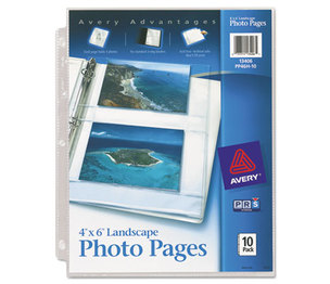 Avery 13406 Photo Storage Pages for Four 4 x 6 Horizontal Photos, 3-Hole Punched, 10/Pack by AVERY-DENNISON