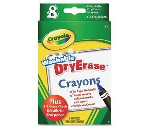 BINNEY & SMITH / CRAYOLA 985200 Washable Dry Erase Crayons w/E-Z Erase Cloth, Assorted Colors, 8/Pack by BINNEY & SMITH / CRAYOLA