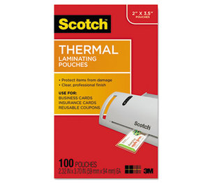 3M TP5851100 Business Card Size Thermal Laminating Pouches, 5 mil, 3 3/4 x 2 3/8, 100/Pack by 3M/COMMERCIAL TAPE DIV.