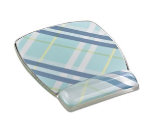 3M MW308PL Fun Design Clear Gel Mouse Pad Wrist Rest, 6 4/5 x 8 3/5 x 3/4, Plaid Design by 3M/COMMERCIAL TAPE DIV.