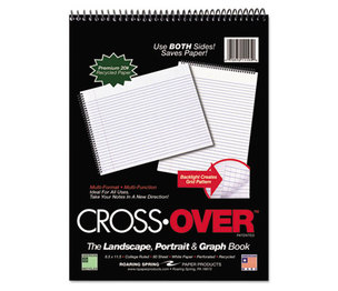 Roaring Spring Paper Products 11195 Crossover Notebook, 8-1/2 x 11-1/2, 80 Pgs, White Sheets, Assorted Cover Colors by ROARING SPRING PAPER PRODUCTS