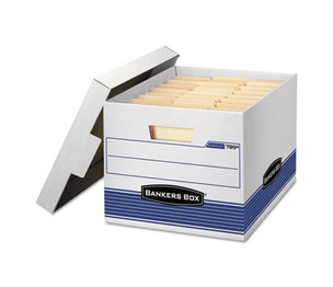 Fellowes, Inc 00789 STOR/FILE Med-Duty Letter/Legal Storage Boxes, Locking Lid, White/Blue, 12/CT by FELLOWES MFG. CO.
