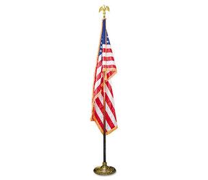"Advantus Corporation MBE031400 Indoor 3 ft x 5 ft U.S. Flag, 8 ft Oak Staff, 2"" Gold Fringe, 7"" Goldtone Eagle by ADVANTUS CORPORATION"
