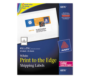 Avery 6876 Color Printing Mailing Labels, 4 3/4 x 7 3/4, White, 50/Pack by AVERY-DENNISON
