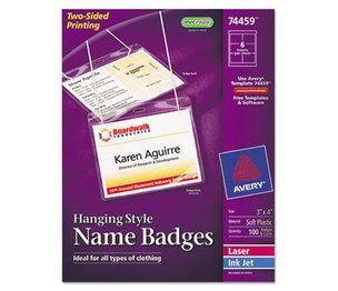 Avery 74459 Neck Hang Badge Holder w/Laser/Inkjet Insert, Top Load, 3 x 4, White, 100/BX by AVERY-DENNISON