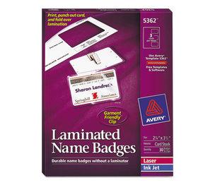 Avery 5362 Self-Laminating Laser/Inkjet Printer Badges, 2 1/4 x 3 1/2, White, 30/Box by AVERY-DENNISON